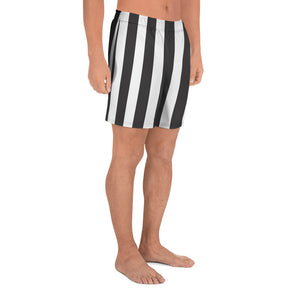 Burtonesque Circus - Black & white stripe - Men's Athletic Long Shorts
