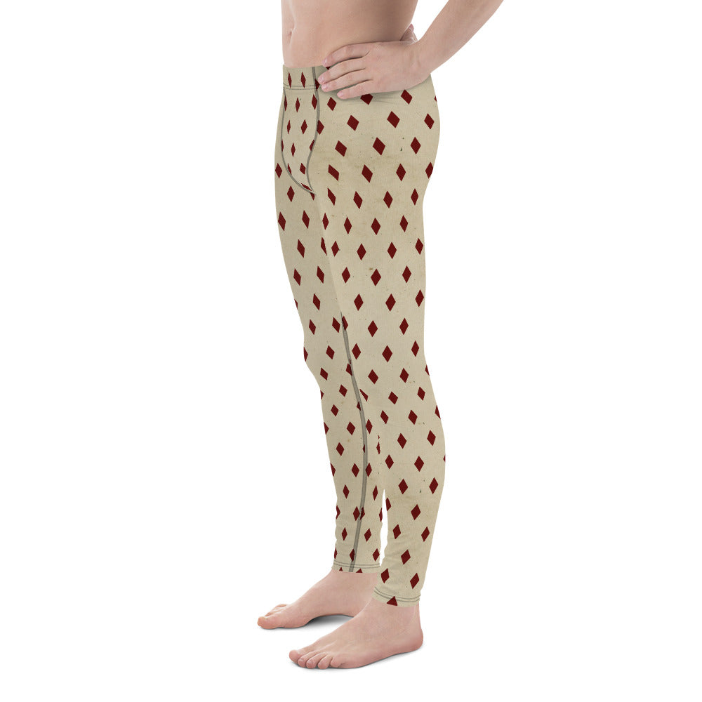 Burtonesque Circus - Distressed White & Red Diamond  - Men's Leggings