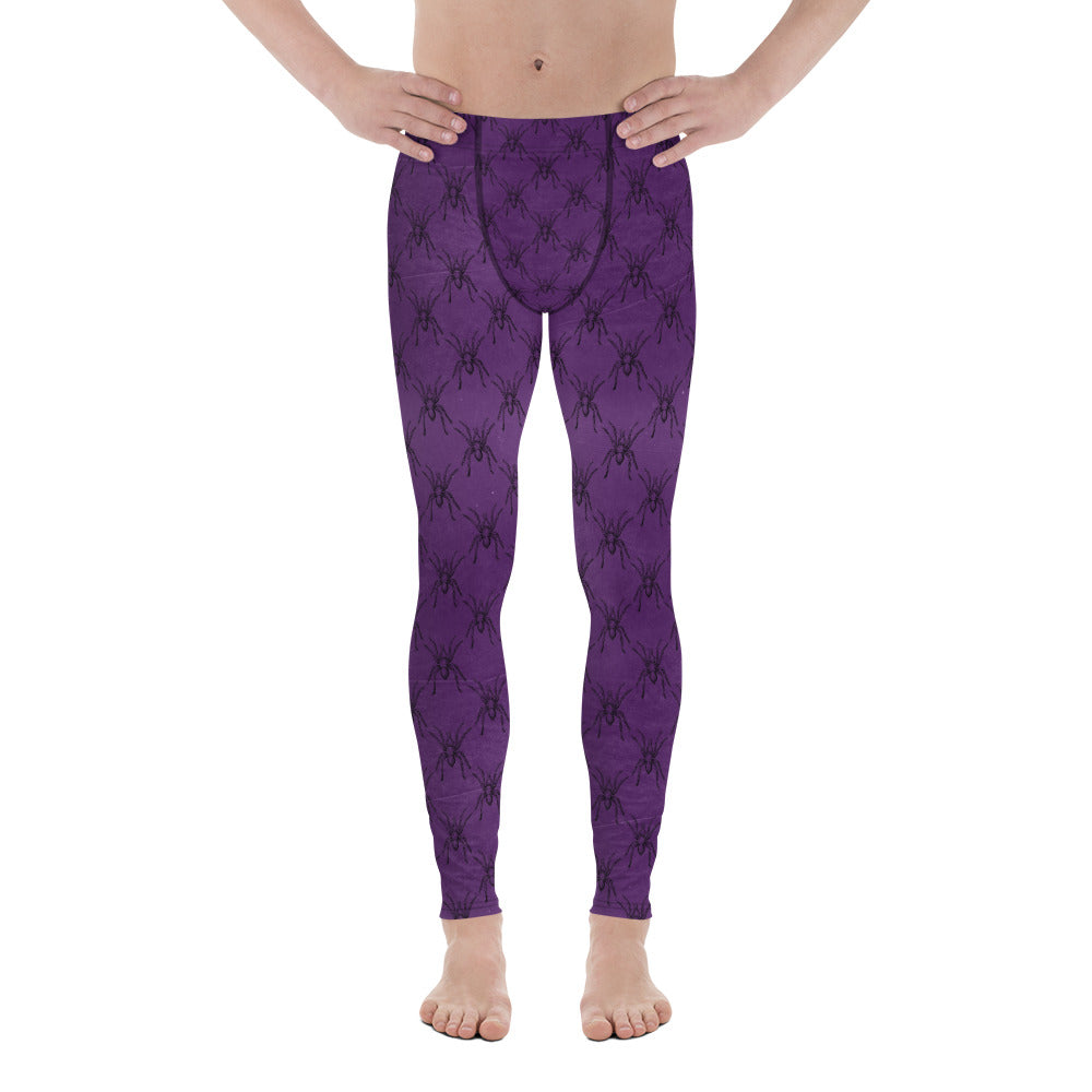 Halloween Costume - Arachnophobia - Black spiders on distressed purple - Men's Leggings