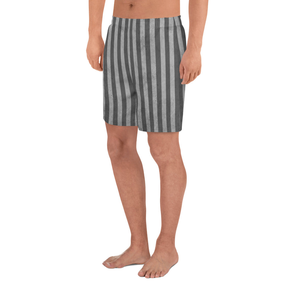 Burtonesque Circus - Distressed Grey on Grey stripe - Men's Athletic Long Shorts