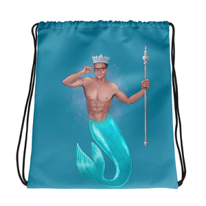 The King of Crowns - Sea Blue Drawstring bag (Printed on both sides)