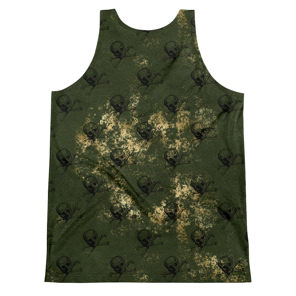 Halloween Costume - Arsenic - skull & crossbones on Green & Gold - unisex tank