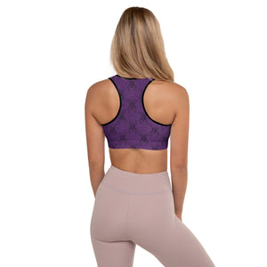 Halloween Costume - Arachnophobia - Black spiders on distressed purple - Padded Sports Bra