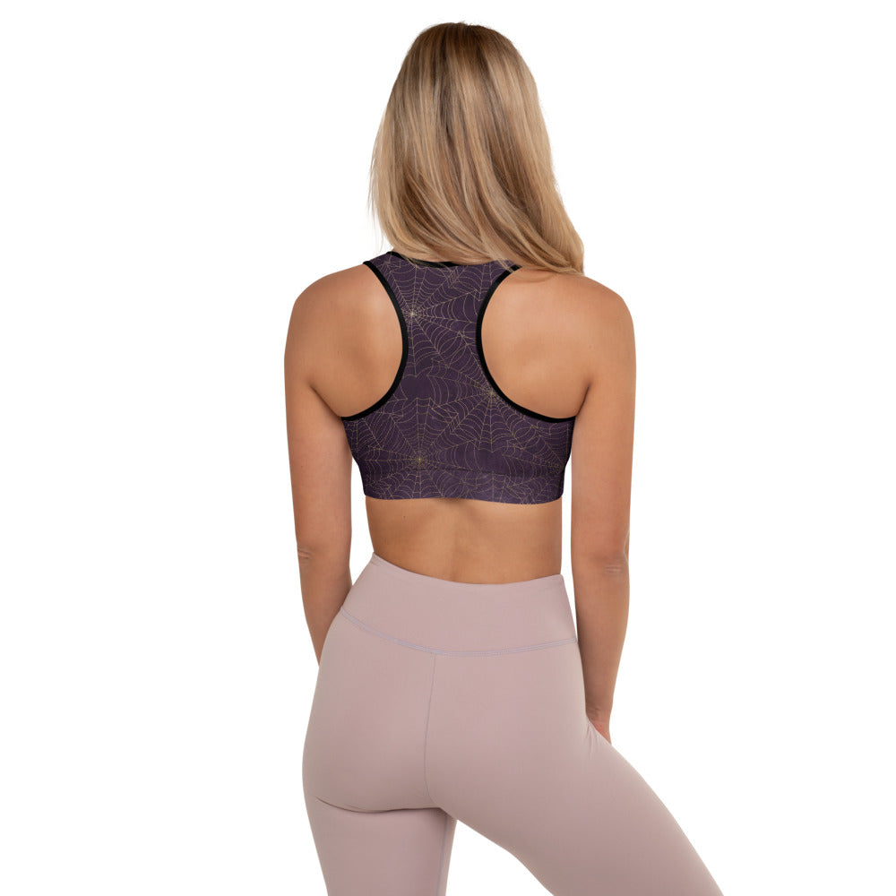 Halloween Costume - Arachnophobia - Gold cobwebs on distressed purple - Padded Sports Bra