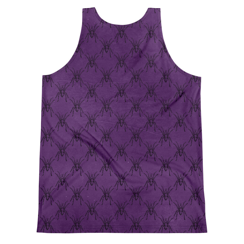 Halloween Costume - Arachnophobia - Black Spiders on Purple - unisex tank