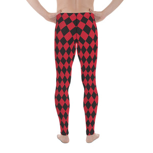 Burtonesque Circus - Red & Black Harlequin - Men's Leggings