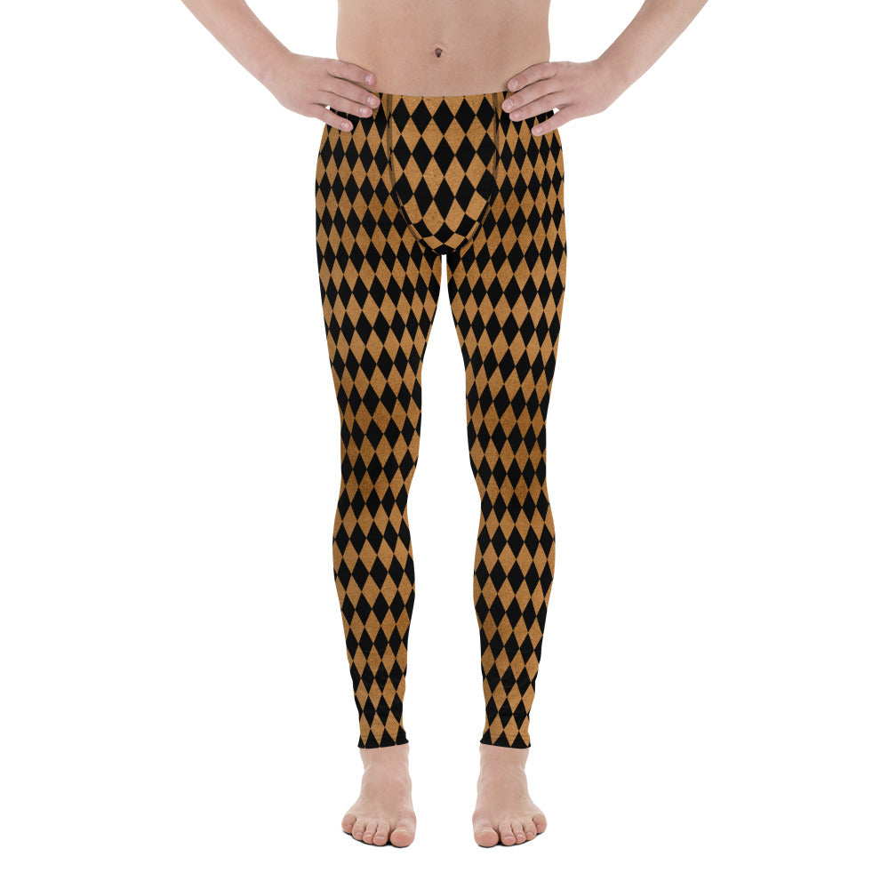 Burtonesque Circus - Black on Rust Harlequin - Men's Leggings