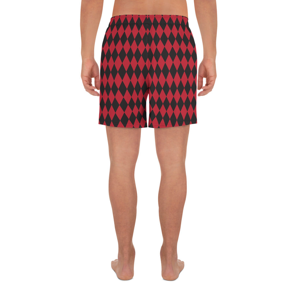 Burtonesque Circus - Red & Black Harlequin - Men's Athletic Long Shorts