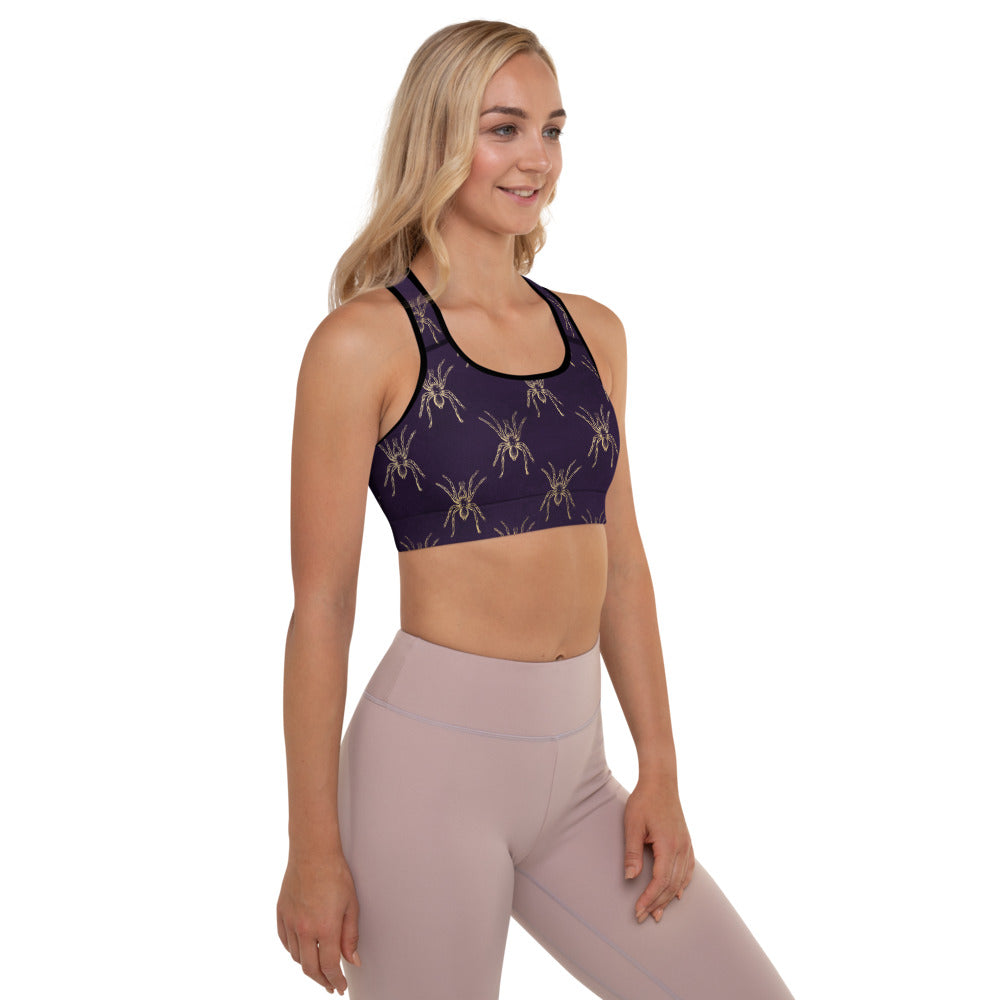 Halloween Costume - Arachnophobia - Gold spiders on distressed purple - Padded Sports Bra
