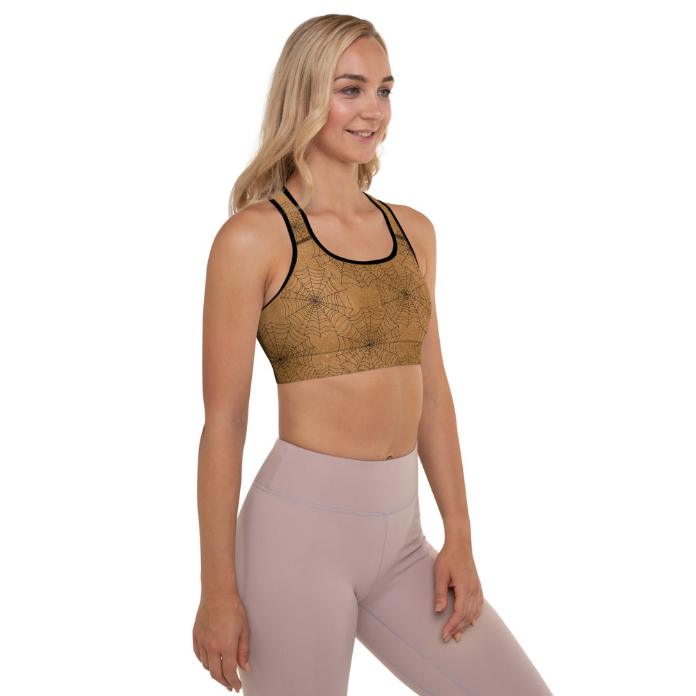 Halloween Costume - Cobwebs on rust - Padded Sports Bra