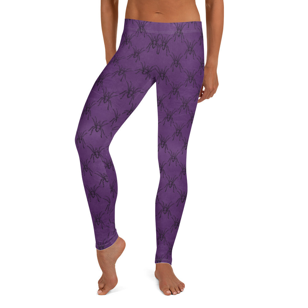 Halloween Costume - Arachnophobia - Black spiders on distressed purple - Female Leggings