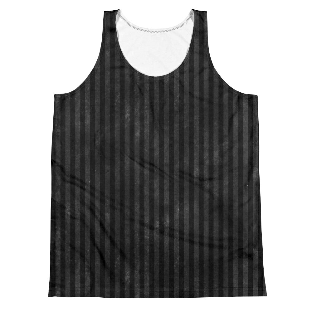 Burtonesque Circus -  Black on Black stripes - unisex tank