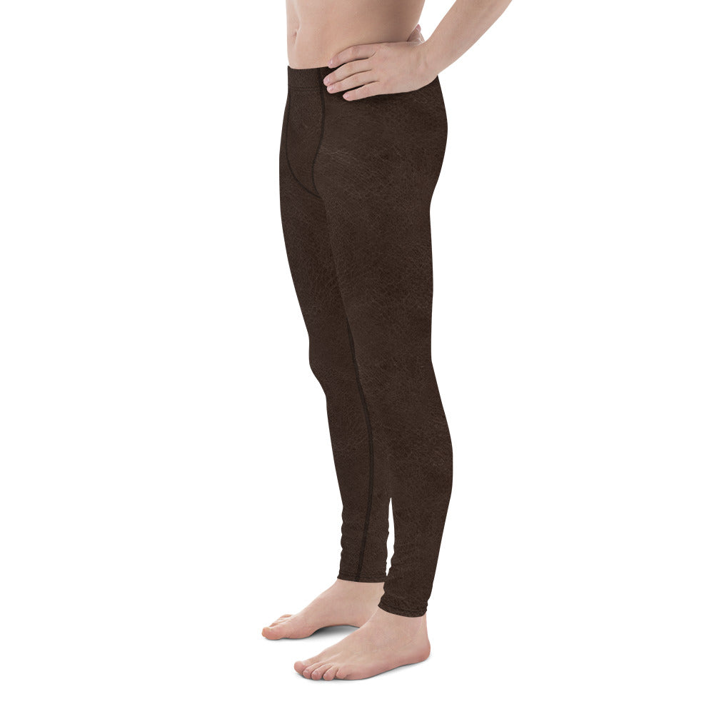 Thrones - Dark Brown leather print - Men's Leggings