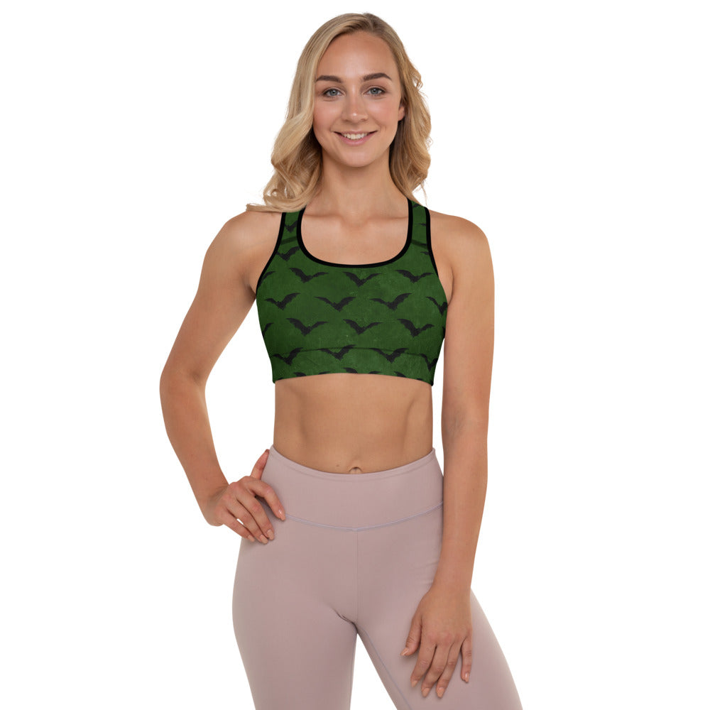Halloween Costume - Black Bats on distressed Green - Padded Sports Bra