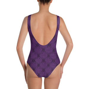 Halloween Costume - Arachnophobia - Black spiders on distressed purple - Bodysuit