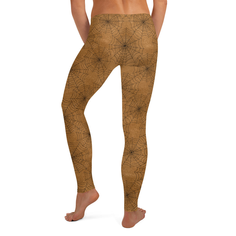 Halloween Costume - Black cobwebs on rust - Female Leggings