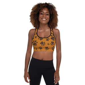Circle of Life - Paws Print 1 -Padded Sports Bra