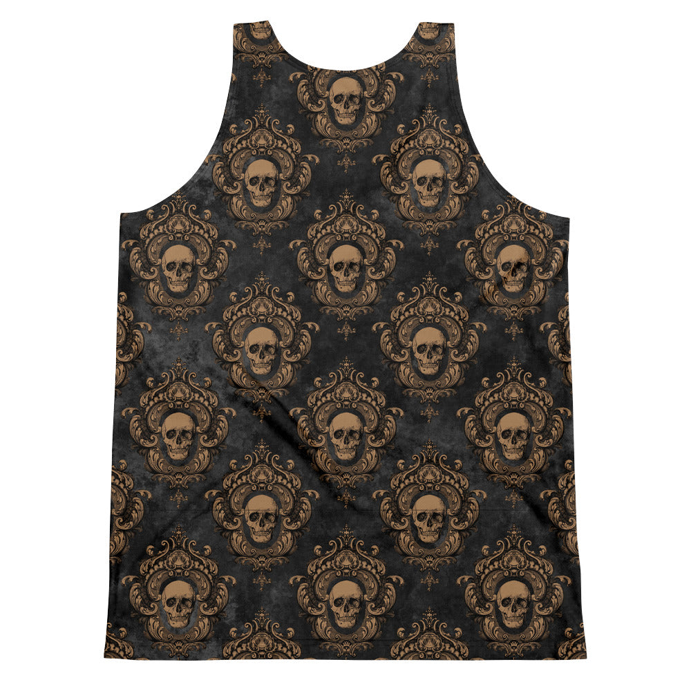 Halloween Costume - Crimson Peak - Gold Skulls on Black - Unisex Tank