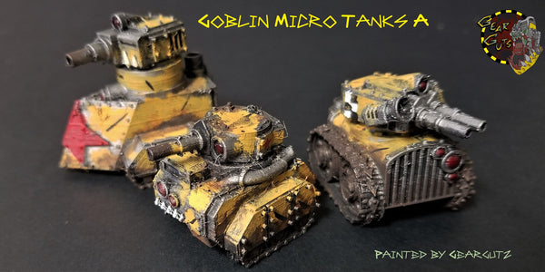 Three adorable goblin micro tanks showing hull, tread, and turret options