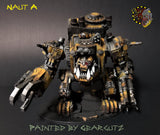 Naut A with the alternate head and guidance. Armed with claw and multi barrel gun. Painted yellow with weathered metal.