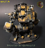 Naut A back view showing backpack and naut butt. Painted yellow with weathered metal.