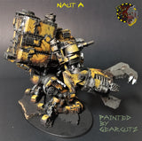 Naut A side view with claw weapon. Painted yellow with weathered metal.