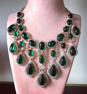 Statement american diamond necklace with emerald and cubiz zirconia ,