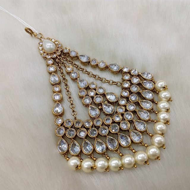 royal polki crystal with ivory drops jhumar for indian pakistani wedding in Manchester UK