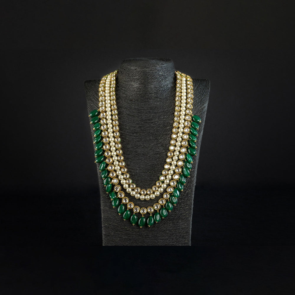 Load image into Gallery viewer, long uncut kundan haar with green beads pakistan jewellery birmingham scotland london