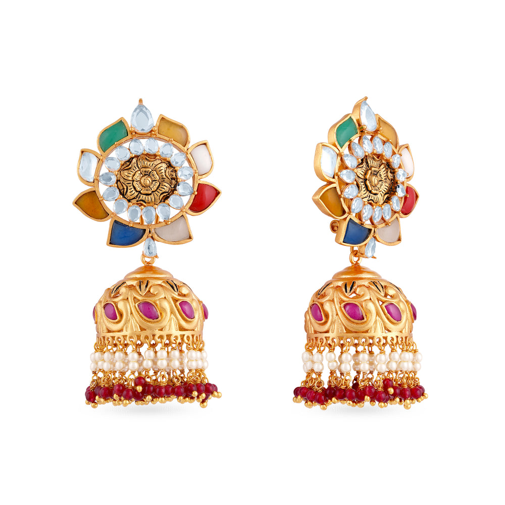 Load image into Gallery viewer, Gold plated navratna jhumki earrings.