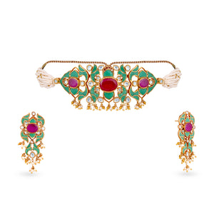 Load image into Gallery viewer, High end finish uncut kundan choker and earrings set with synthetic polkis cladded in pure silver casing centered with Hydrothermal ruby along with green onyx stones. This is such a pretty and dainty choker and will elevate absolutely any look