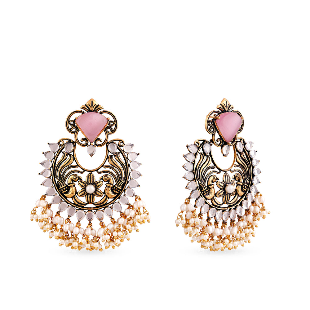 Statement peacock motif earrings with coloured customisable top.