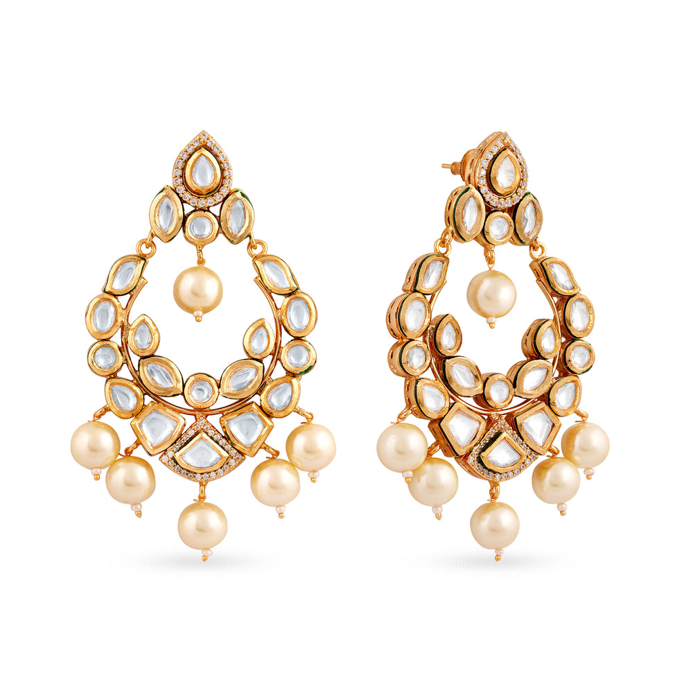 Aadhya gold plated kundan earrings