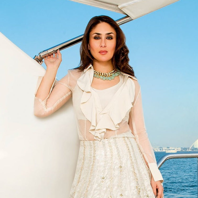 2 line uncut kundan necklace as seen on bollywood actress kareena kapoor in dubai. asian indian pakistani bridal jewellery uk usa canada australia