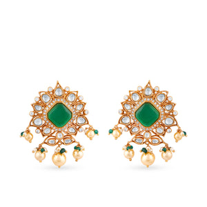 Gold plated kundan stud earrings carefully handcrafted with hydrothermal emerald / ruby centerstones  and faux pearl detailing