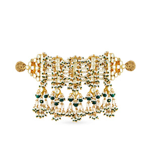 Gold plated kundan choker with delicate faux pearl and little green bead detailing.