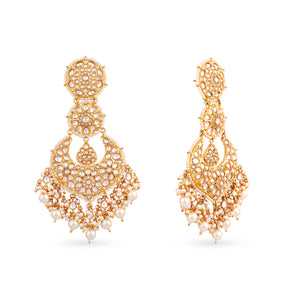 High end gold plated kundan chaandbaaliearrings. Drops can be customised to any colour.