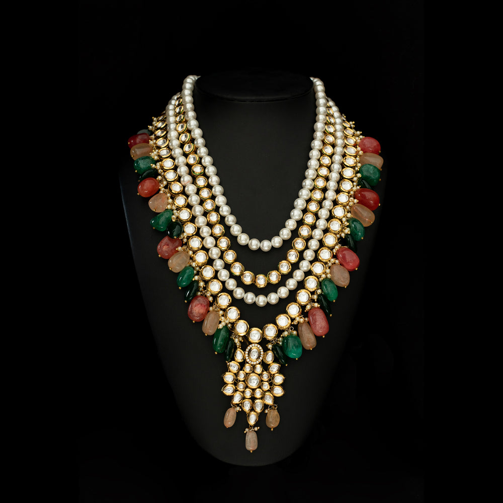 kundan long haar with multi coloured beads. indian and pakistan jewellery online