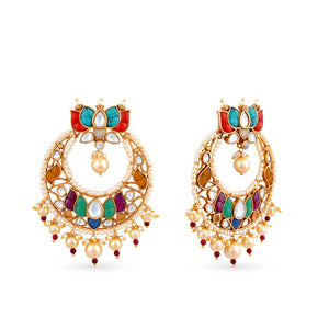 Gold plated kundan chaandbaali earrings with kundan and coloured stone takkar work.