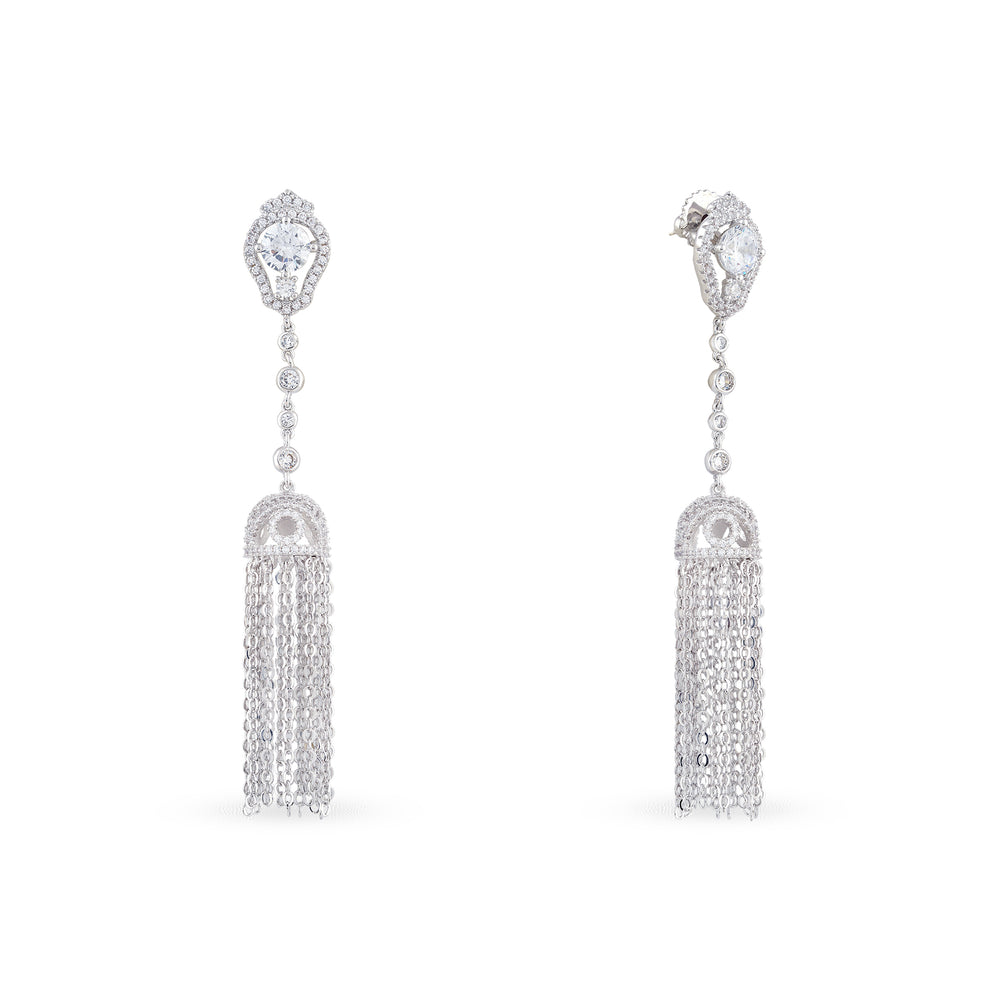Cubic zirconia tassel earrings .