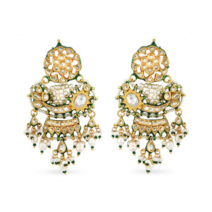 Gold plated silver mix base metal kundan earrings set with real pearls zirconia polki center stone. The earrings have handpainted meenakari work at the back.