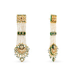 Gold plated silver mix base metal kundan earrings set with real pearls. The earrings have handpainted meenakari work at the back of the set.