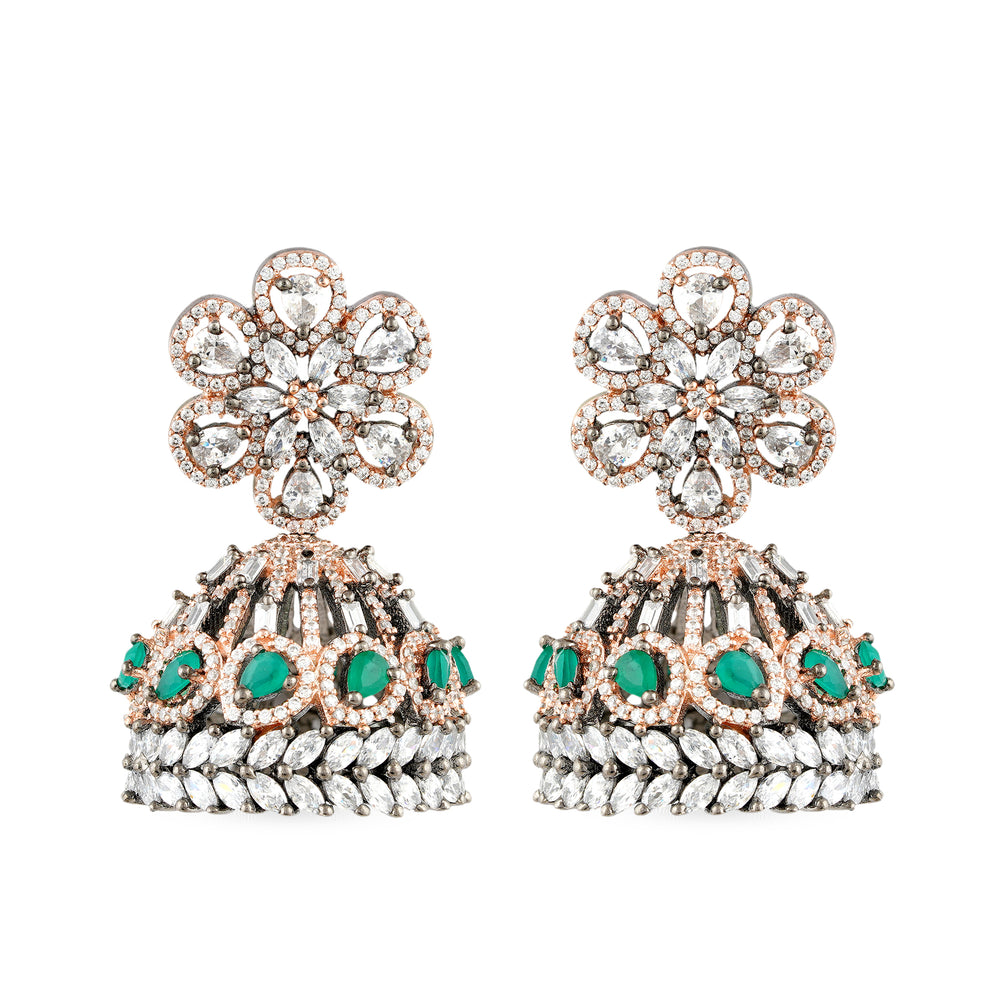 Load image into Gallery viewer,  Cubic zirconia jhumki earrings.