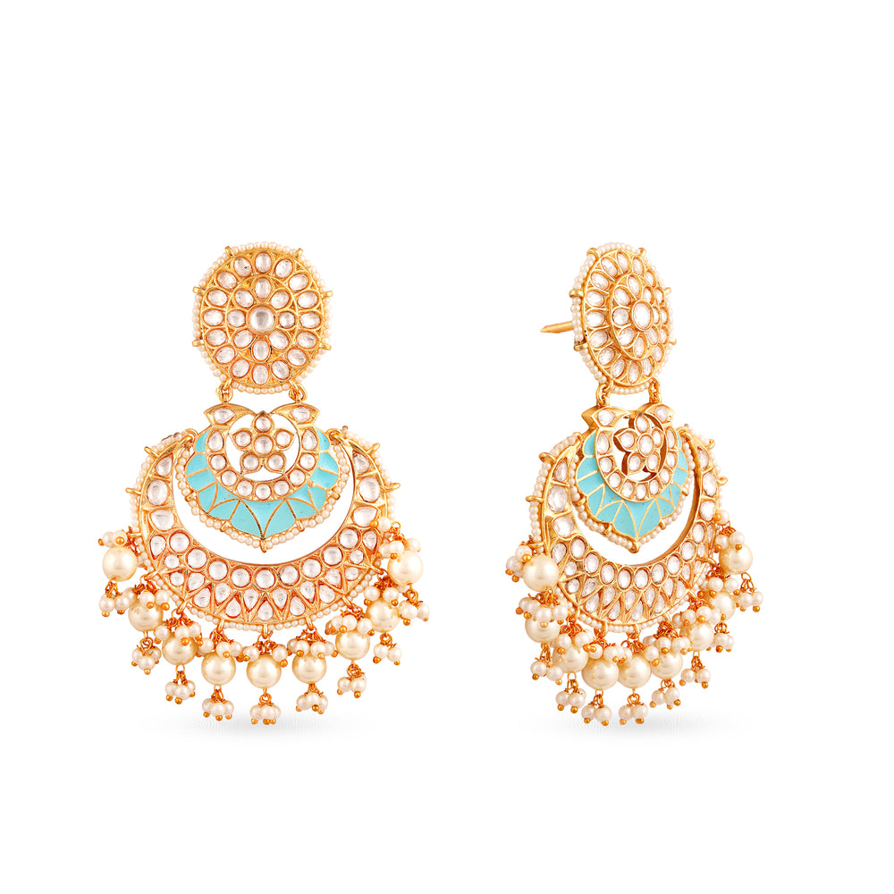 Load image into Gallery viewer, Gold plated kundan jhumki earrings with enamel work.