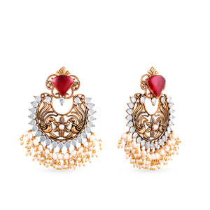 Statement peacock motif earrings with coloured customisable top. temple jewellery
