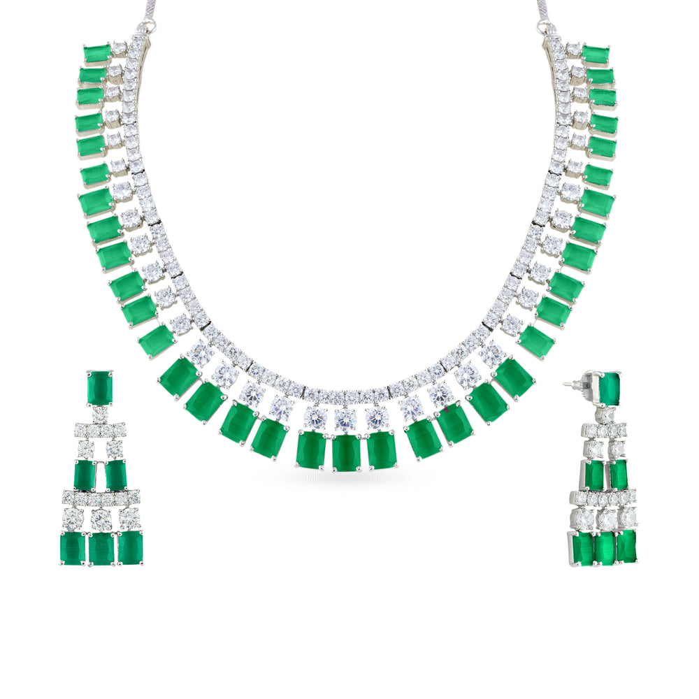 Load image into Gallery viewer, Cubic zirconia necklace with matching earrings.