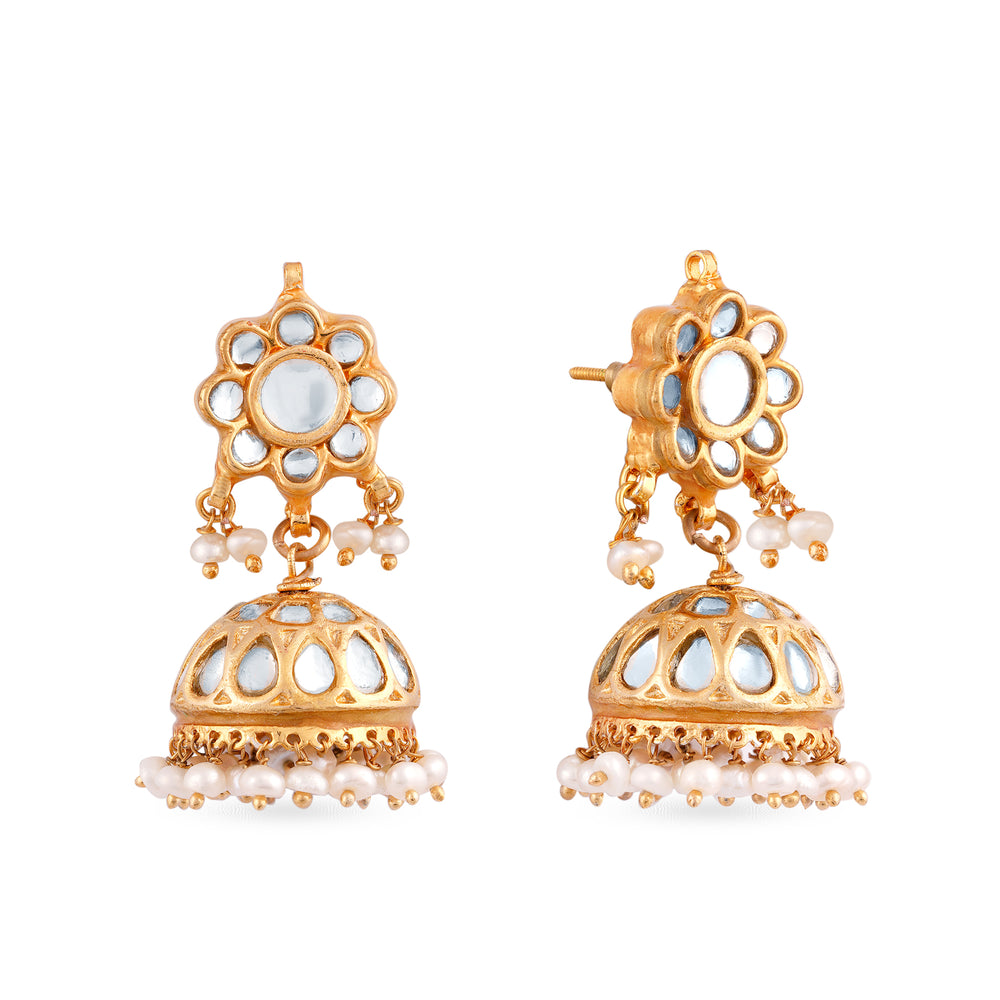 Gold plated silver mix base metal small jumki earrings with gold meenakari on sides. The earring have hand-painted meenakari work at the back. Meenakari colour and drop colour can be customised