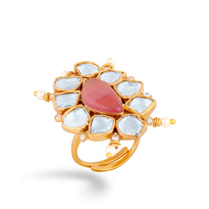 High end finish kundan ring with synthetic polkis cladded in pure silver casing .
