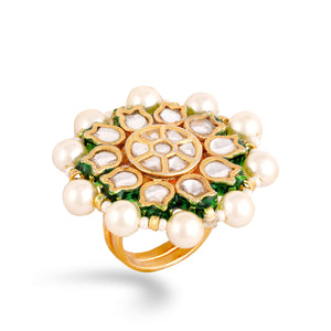 Gold plated silver mix base metal kundan ring. The ring has hand-painted meenakari work at the back.