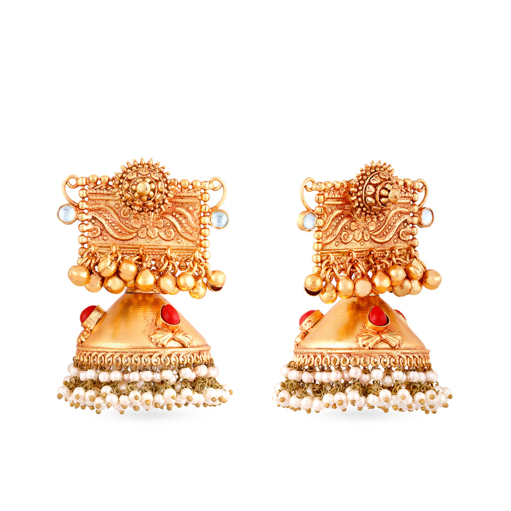 Load image into Gallery viewer, Gold finish jhumki earrings.